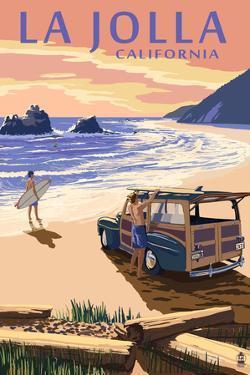 La Jolla, California - Woody on Beach by Lantern Press