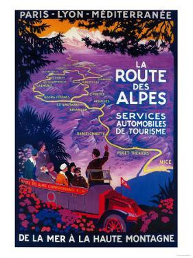 La Route Des Alpes Vintage Poster - Europe by Lantern Press