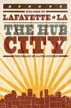Lafayette, Louisiana - Skyline and Sunburst Screenprint Style by Lantern Press