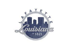 Lafayette, Louisiana - Skyline Seal (Blue) by Lantern Press