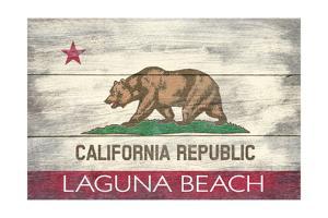 Laguna Beach, California - California State Flag - Barnwood Painting by Lantern Press