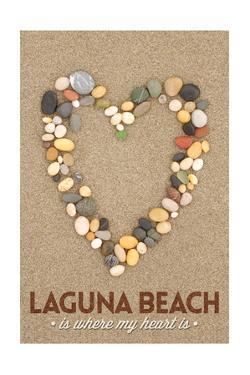 Laguna Beach, California Is Where My Heart Is - Stone Heart on Sand by Lantern Press