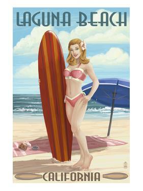 Laguna Beach, California - Pinup Surfer Girl by Lantern Press