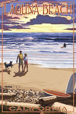 Laguna Beach, California - Sunset Beach Scene by Lantern Press