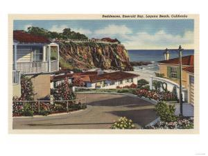 Laguna Beach, California - View of Emerald Bay & Residences by Lantern Press