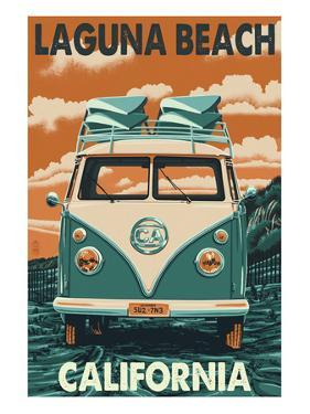 Laguna Beach, California - VW Van by Lantern Press
