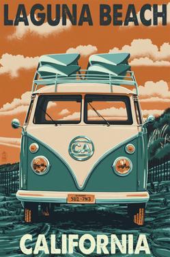 Laguna Beach, California - VW Van by Lantern Press
