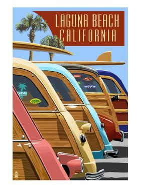 Laguna Beach, California - Woodies Lined Up by Lantern Press