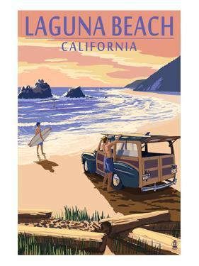 Laguna Beach, California - Woody on Beach by Lantern Press