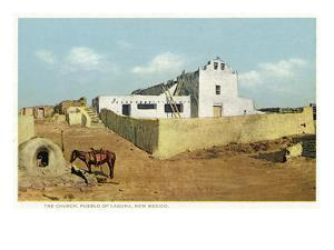 Laguna Pueblo, New Mexico - View of the Church by Lantern Press