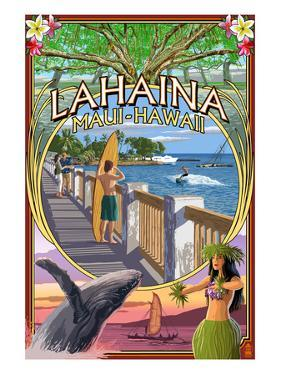 Lahaina, Maui, Hawaii - Town Scenes Montage by Lantern Press