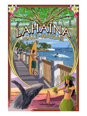 Lahaina, Maui, Hawaii - Town Scenes Montage by Lantern Press