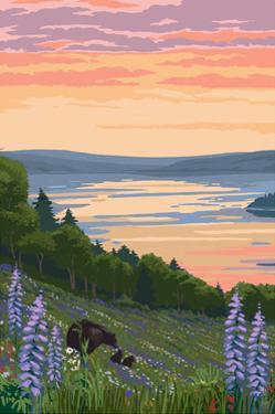 Lake and Bear Family by Lantern Press