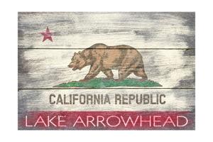 Lake Arrowhead, California - Barnwood State Flag by Lantern Press