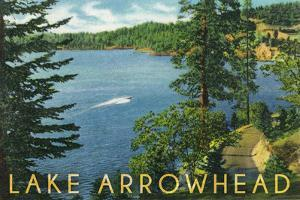 Lake Arrowhead, California - View towards the North Shore by Lantern Press