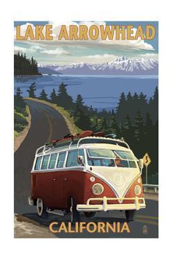 Lake Arrowhead - California - VW Van Coastal by Lantern Press