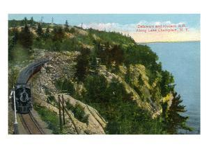 Lake Champlain, New York - Delaware and Hudson River Train Along Lake by Lantern Press