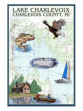 Lake Charlevoix, Michigan - Nautical Chart by Lantern Press