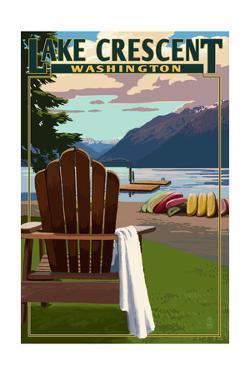 Lake Crescent and Adirondack Chairs - Washington by Lantern Press