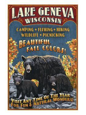 Lake Geneva, Wisconsin - Black Bears by Lantern Press