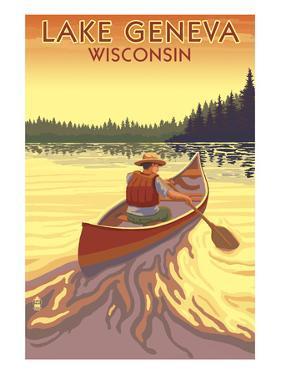Lake Geneva, Wisconsin - Canoe Scene by Lantern Press