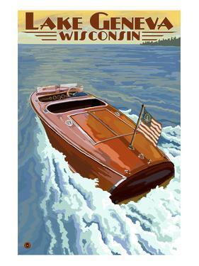 Lake Geneva, Wisconsin - Chris Craft Wooden Boat by Lantern Press