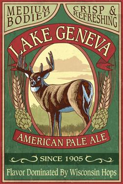 Lake Geneva, Wisconsin - Deer Pale Ale by Lantern Press