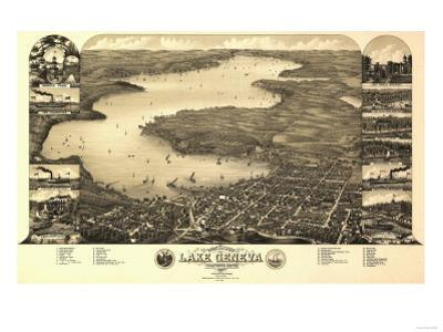 Lake Geneva, Wisconsin - Panoramic Map