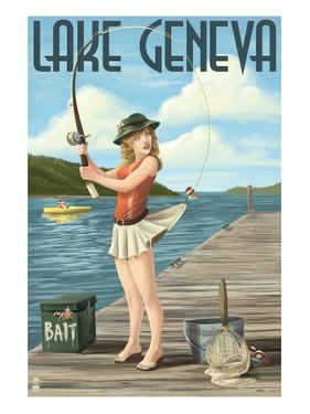 Lake Geneva, Wisconsin - Pinup Girl Fishing by Lantern Press