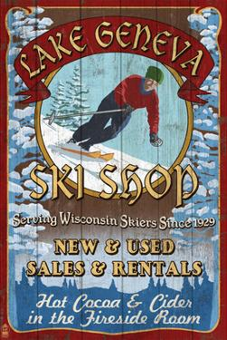 Lake Geneva, Wisconsin - Ski Shop by Lantern Press