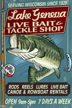 Lake Geneva, Wisconsin - Tackle Shop Bass by Lantern Press