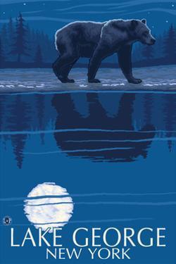 Lake George, New York - Bear at Night by Lantern Press