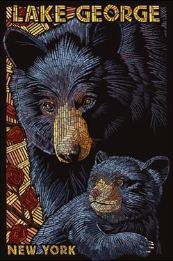 Lake George, New York - Black Bears - Paper Mosaic by Lantern Press