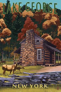 Lake George, New York - Deer Family and Cabin by Lantern Press
