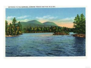 Lake George, New York - Narrows Entrance, Tongue and Five Mile Mountains by Lantern Press