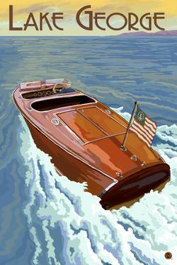Lake George, New York - Wooden Boat on Lake by Lantern Press