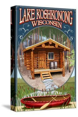 Lake Koshkonong, Wisconsin - Cabin in Woods by Lantern Press