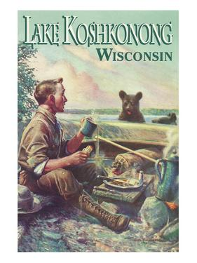 Lake Koshkonong, Wisconsin - Camping Scene by Lantern Press