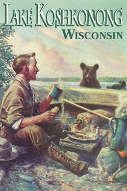 Lake Koshkonong, Wisconsin - Camping Scene by Lantern Press