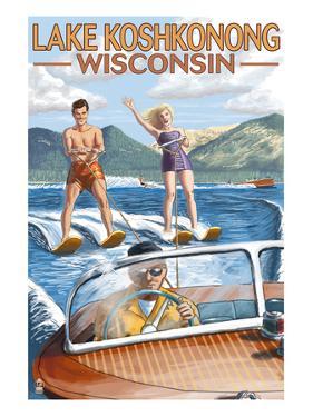 Lake Koshkonong, Wisconsin - Water Skiing Scene by Lantern Press