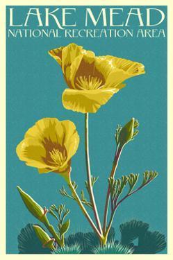 Lake Mead - National Recreation Area - Bear Paw Poppy - Letterpress by Lantern Press