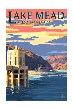 Lake Mead, Nevada / Arizona - Paddleboat and Hoover Dam by Lantern Press