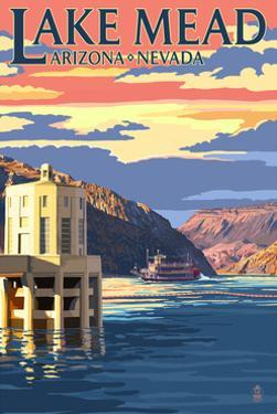 Lake Mead, Nevada / Arizona - Paddleboat and Hoover Dam by Lantern Press