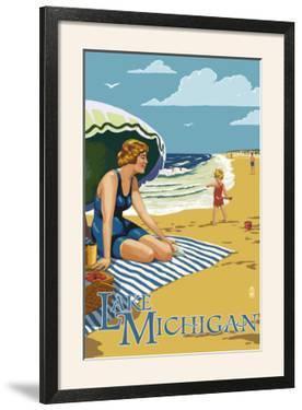 Lake Michigan - Beach Scene by Lantern Press