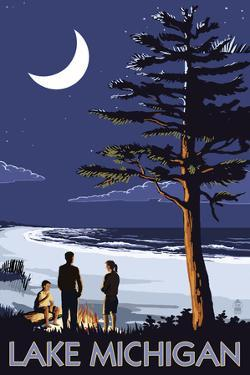 Lake Michigan - Bonfire at Night Scene by Lantern Press