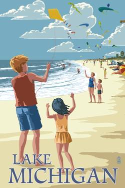 Lake Michigan - Children Flying Kites by Lantern Press