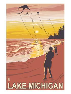 Lake Michigan - Sunset Kite Flyers by Lantern Press