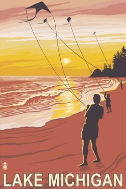 Lake Michigan - Sunset Kite Flyers by Lantern Press