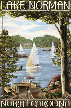 Lake Norman, North Carolina - Lake View with Sailboats by Lantern Press