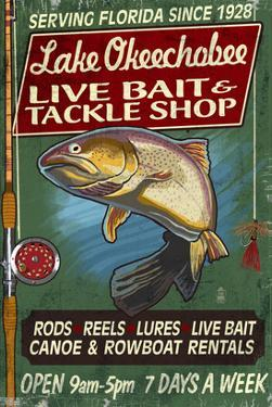 Lake Okeechobee, Florida - Tackle Shop by Lantern Press